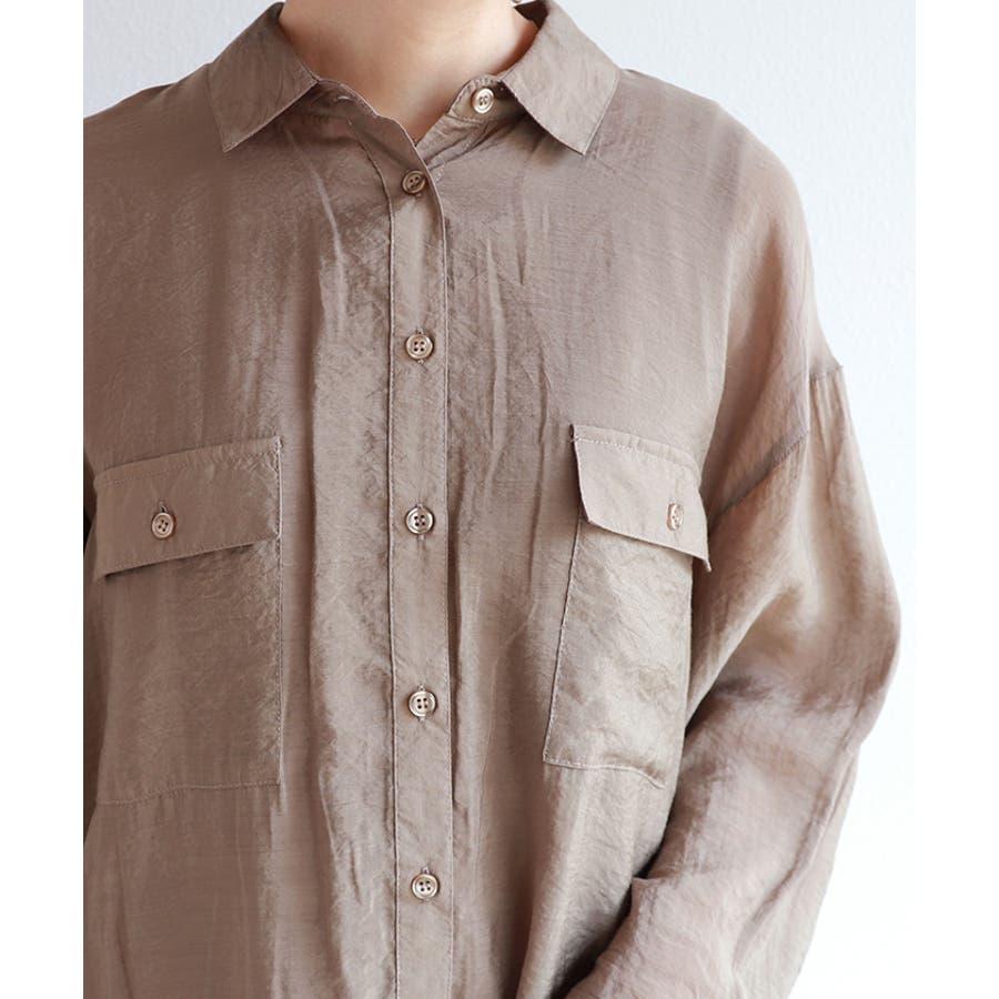 オーバーサイズ 長袖 シアーシャツ 5
