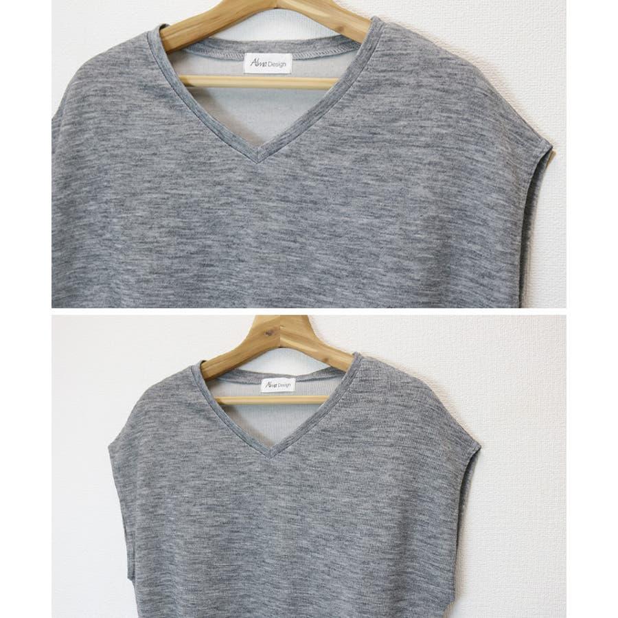 【M-12】2018春夏新作♪Tシャツ レディース 半袖 ノースリーブ ニット 黒 フレンチスリーブ Vネック MLサイズ 4