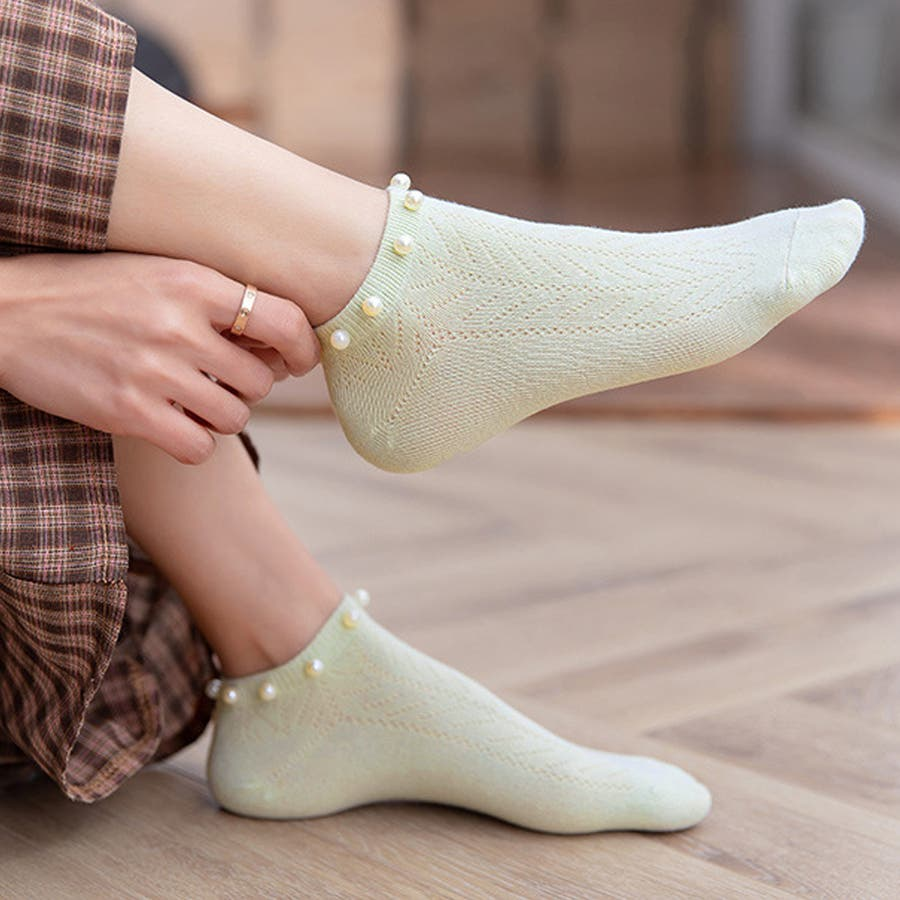 パール付き 靴下 レディース スニーカーソックス おしゃれ ミドル丈 可愛い シンプル 靴下コーデ ローソックス 韓国ファッション 48