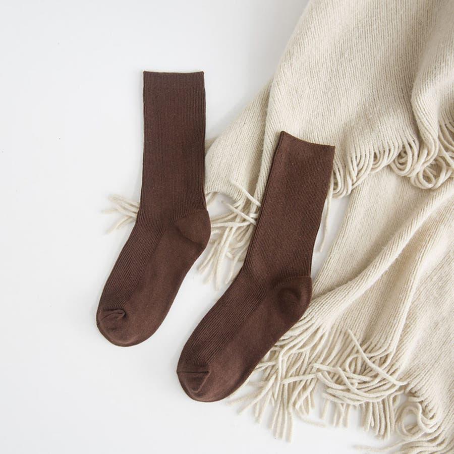 リブ 靴下 リブソックス レディース ミドル丈 無地 綿混 ソックス 通学 薄手 カラバリ 靴下 29