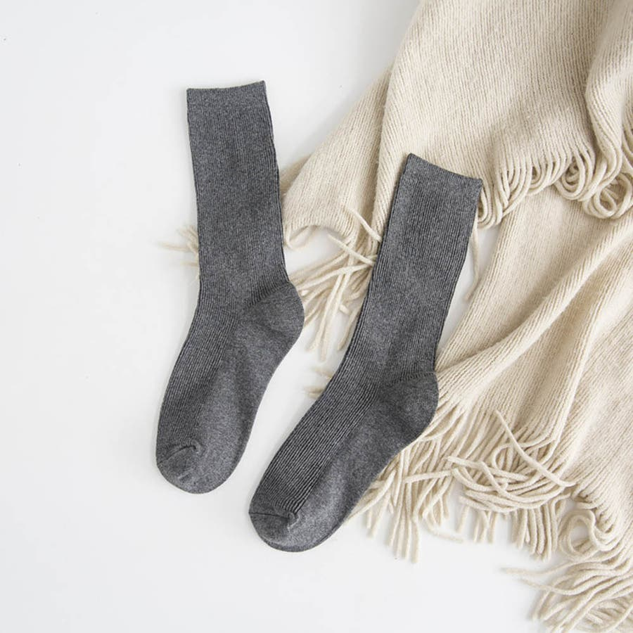 リブ 靴下 リブソックス レディース ミドル丈 無地 綿混 ソックス 通学 薄手 カラバリ 靴下 25