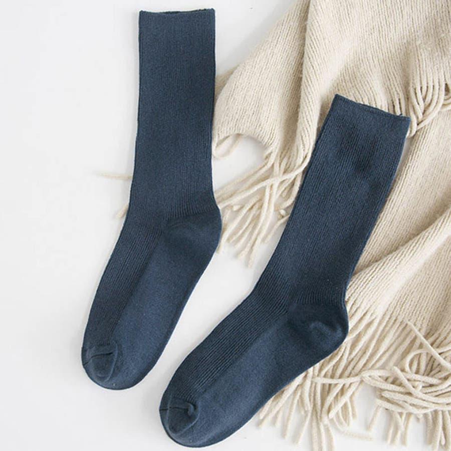 リブ 靴下 リブソックス レディース ミドル丈 無地 綿混 ソックス 通学 薄手 カラバリ 靴下 66