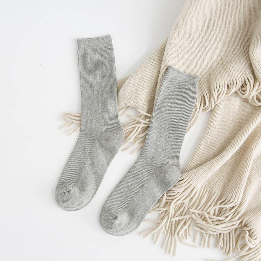 リブ 靴下 リブソックス レディース ミドル丈 無地 綿混 ソックス 通学 薄手 カラバリ 靴下 24