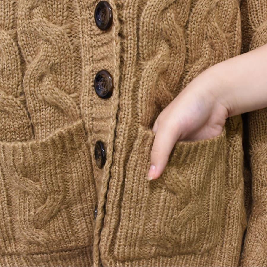 ニット トップス カーディガン ざっくりニット 秋冬 きれいめ おしゃれ ケーブル編み 羽織 厚手 長袖 前開き アウター レディースカジュアルスタイル ゆったり 華奢見せ 細見え スタイルアップ 美ライン 大きいサイズ ケーブルボーイフレンドカーディガン 6
