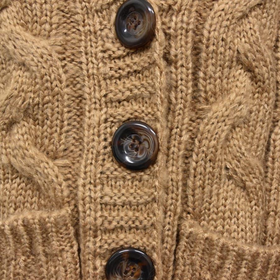 ニット トップス カーディガン ざっくりニット 秋冬 きれいめ おしゃれ ケーブル編み 羽織 厚手 長袖 前開き アウター レディースカジュアルスタイル ゆったり 華奢見せ 細見え スタイルアップ 美ライン 大きいサイズ ケーブルボーイフレンドカーディガン 7
