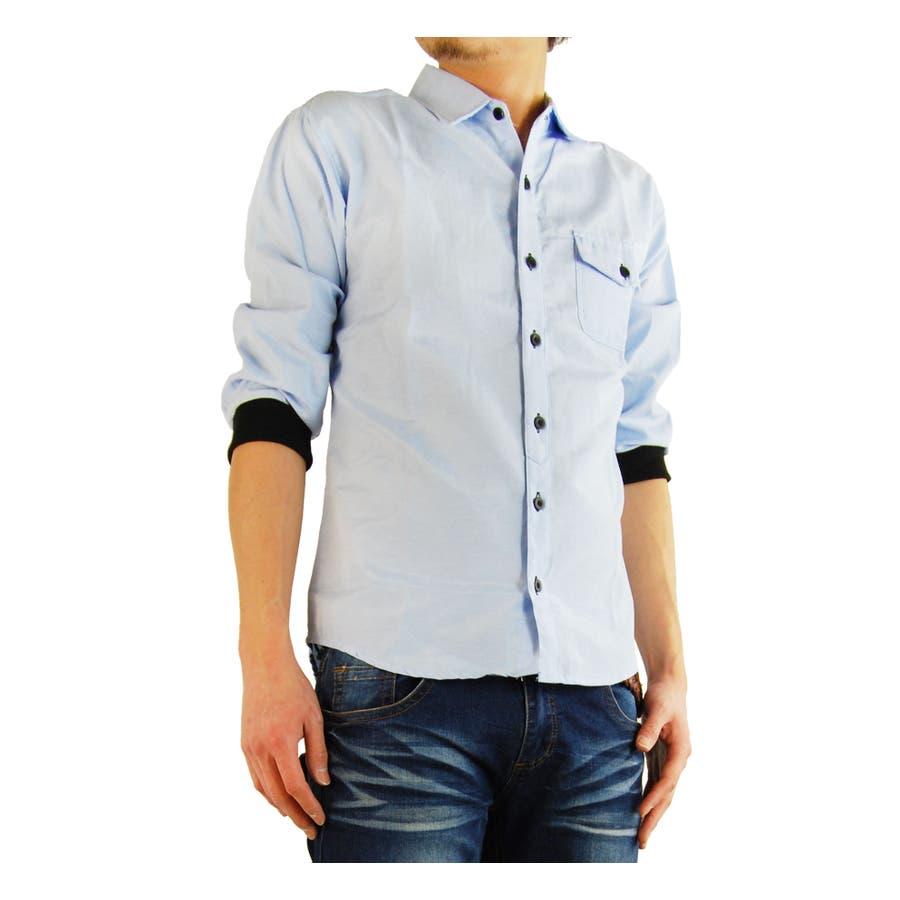 想像通りで大変満足しました メンズファッション通販2014春夏新作 7分袖七分袖シャツ カフスリブ付き オックスフォードシャツ 劇画