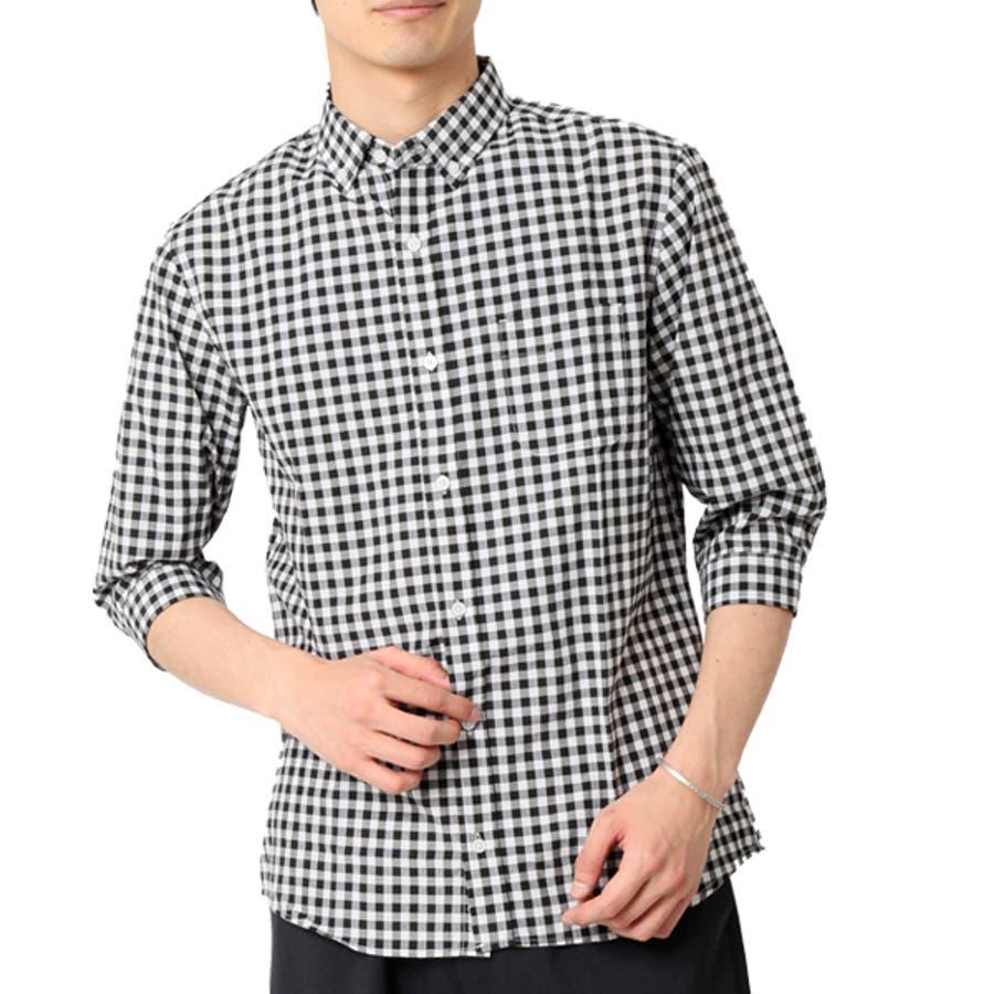 ボタンダウンシャツ メンズ 7分袖 22