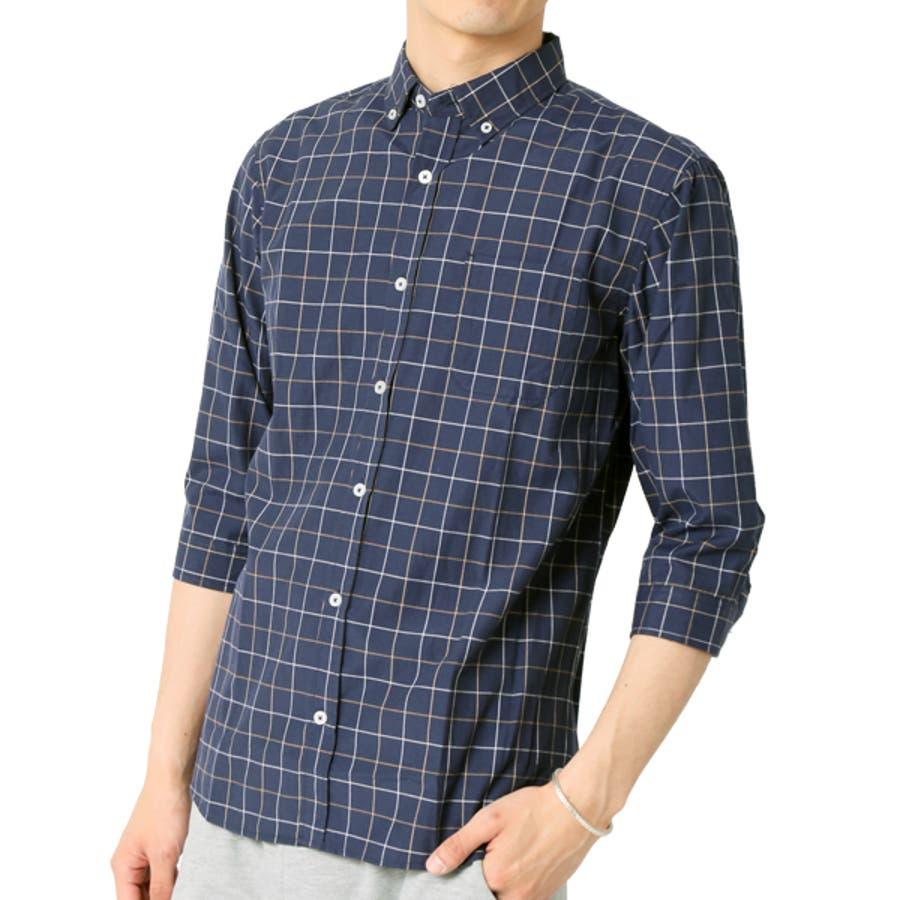 ボタンダウンシャツ メンズ 7分袖 64