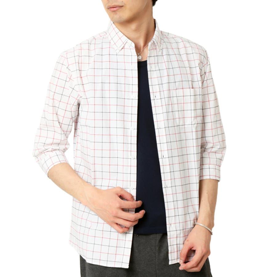 ボタンダウンシャツ メンズ 7分袖 20