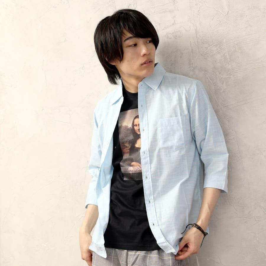 ダンガリーシャツ メンズ 七分袖 66