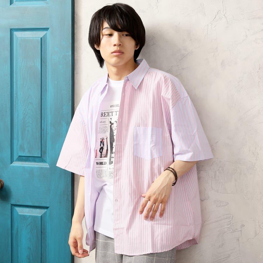 ビッグシャツ メンズ ストライプ 108