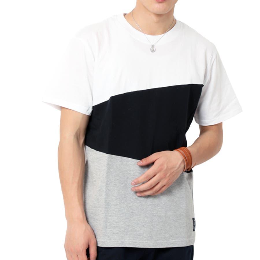Tシャツ メンズ 半袖 切り替え アシンメトリー デザイン キレイめ 16