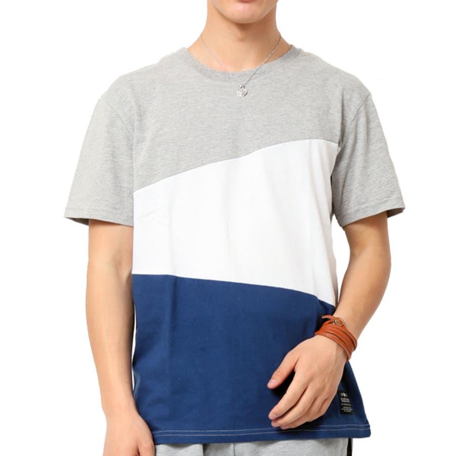 Tシャツ メンズ 半袖 切り替え アシンメトリー デザイン キレイめ 59