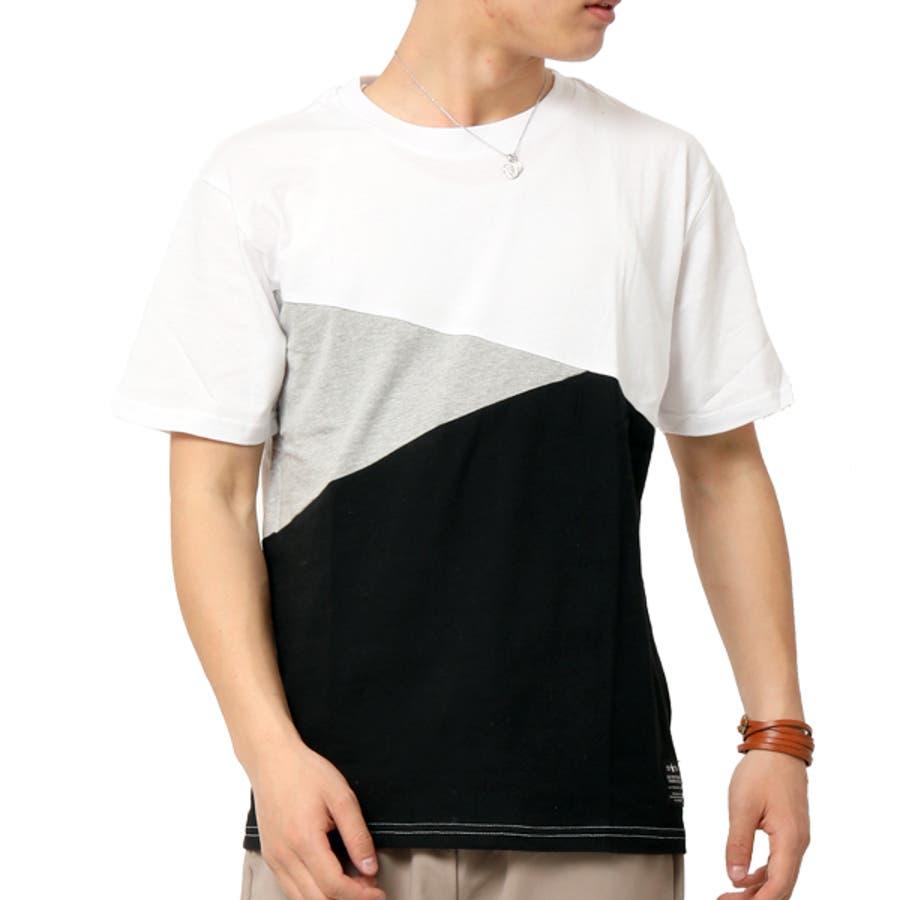 Tシャツ メンズ 半袖 切り替え アシンメトリー デザイン キレイめ 21