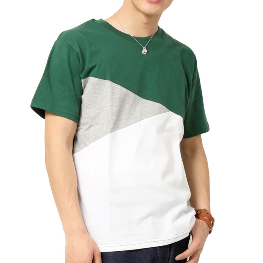 Tシャツ メンズ 半袖 切り替え アシンメトリー デザイン キレイめ 47
