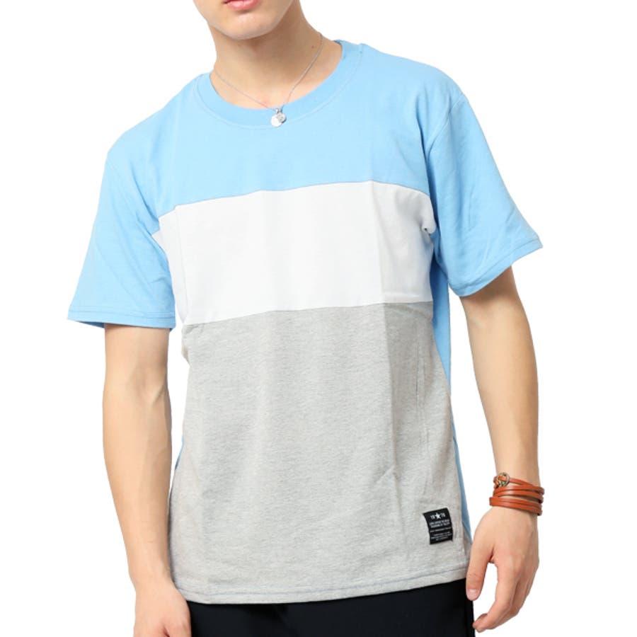 Tシャツ メンズ 半袖 切り替え アシンメトリー デザイン キレイめ 66