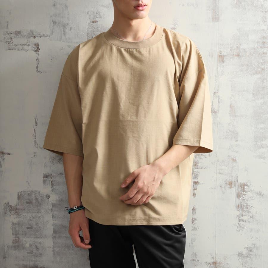 キレイ目 ポリシャンブレー ワイド Tシャツ メンズ 半袖 ビッグシルエット オーバーサイズ ビッグT 夏 ストリート 5