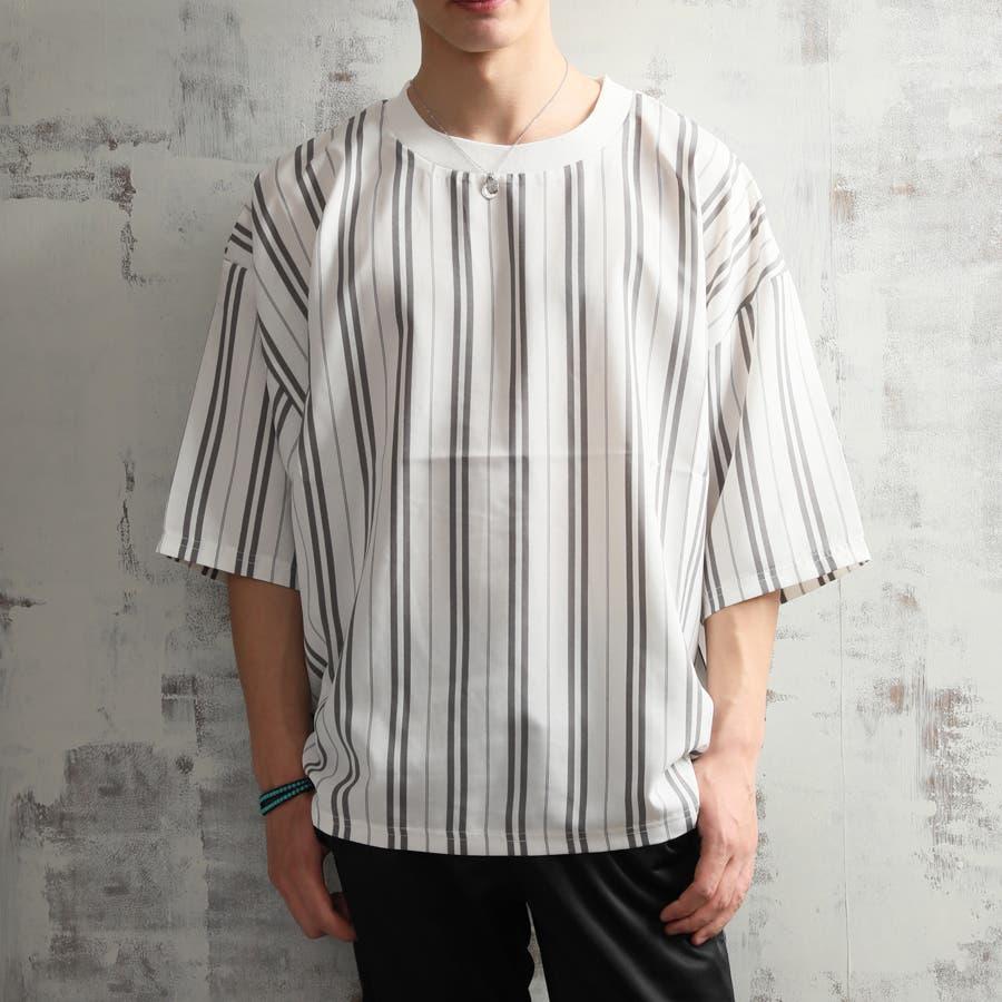 キレイ目 ポリシャンブレー ワイド Tシャツ メンズ 半袖 ビッグシルエット オーバーサイズ ビッグT 夏 ストリート 1
