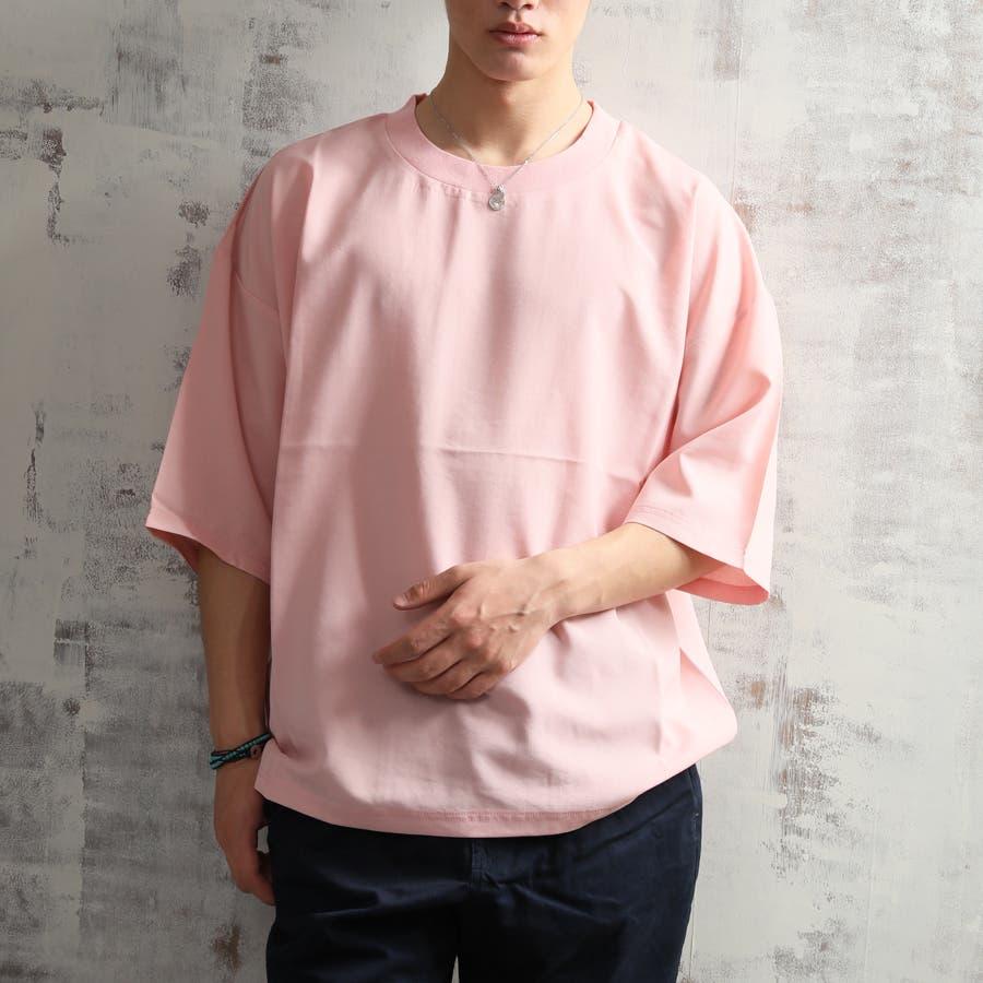 キレイ目 ポリシャンブレー ワイド Tシャツ メンズ 半袖 ビッグシルエット オーバーサイズ ビッグT 夏 ストリート 10
