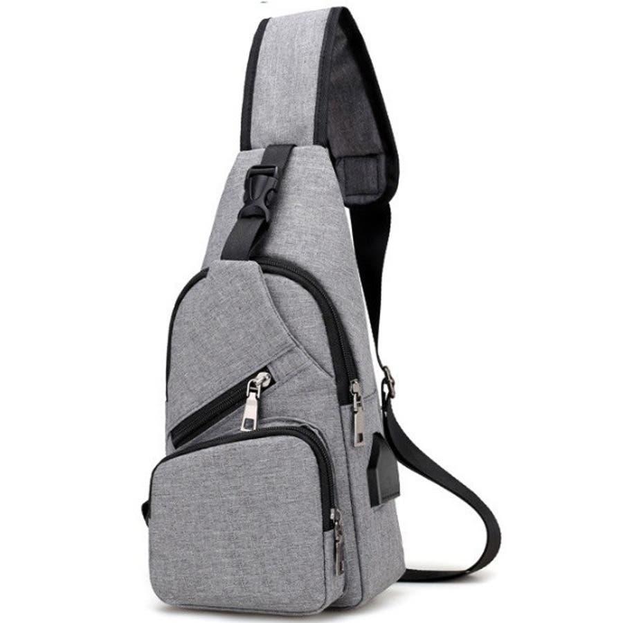 ボディバッグ メンズ・レディース かばん USBポート搭載 ケーブル付 ミニバッグ ショルダーバッグ 3