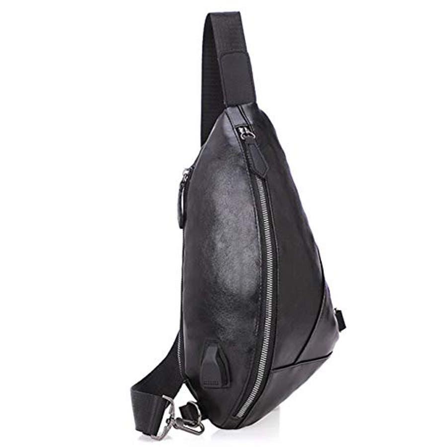 ボディバッグ メンズ・レディース かばん USBポート搭載 ケーブル付 ミニバッグ ショルダーバッグ 2