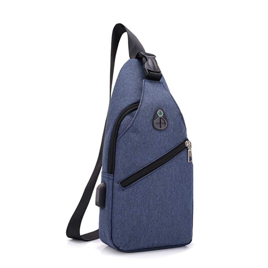 ボディバッグ メンズ・レディース かばん USBポート搭載 ケーブル付 ミニバッグ ショルダーバッグ 7