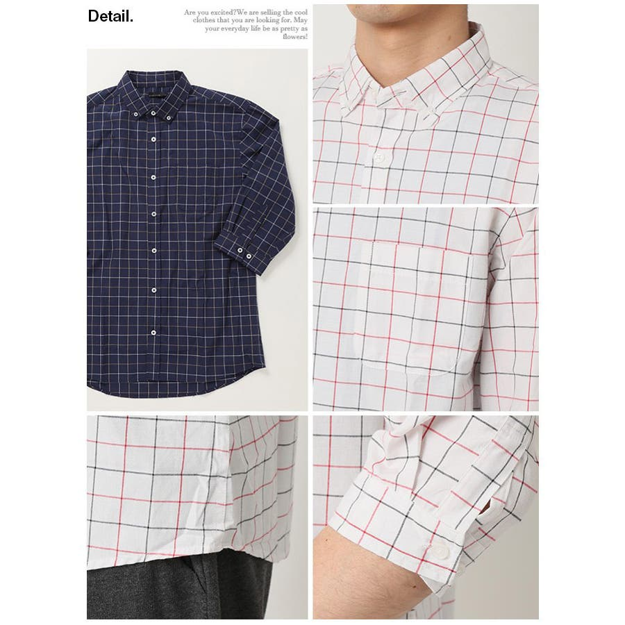 ボタンダウンシャツ メンズ 7分袖 4