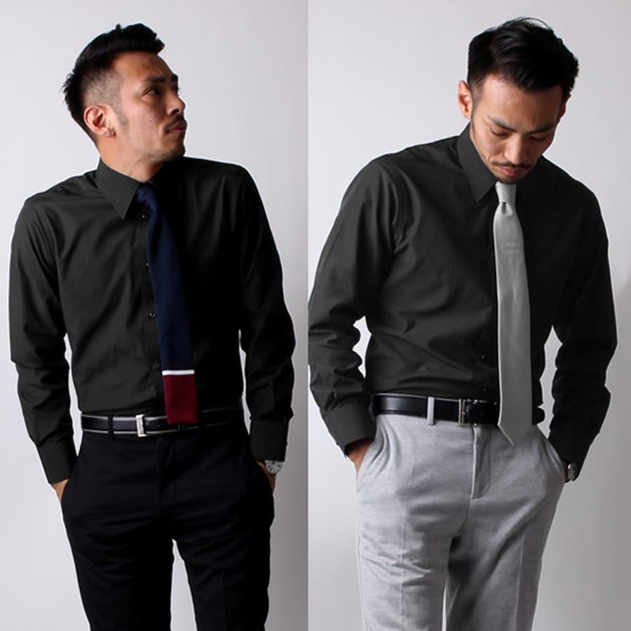紺ワイシャツ 黒ワイシャツ 長袖ワイシャツ メンズ ワイシャツ Yシャツ ドレスシャツ ブラック ワイシャツ 無地