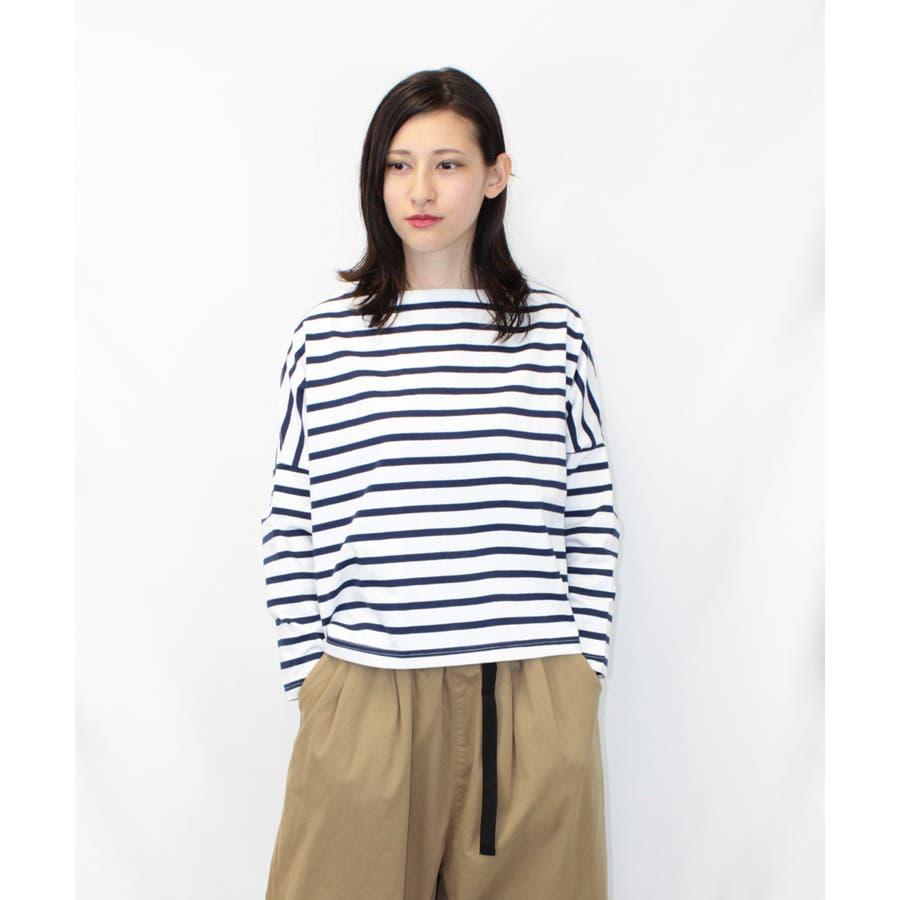 ボーダーボートネックバスクTシャツ 1