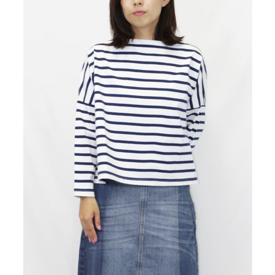 ボーダーボートネックバスクTシャツ 64