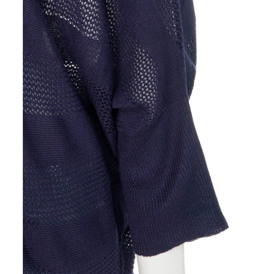 無地柄ボーダーVネックニット プルオーバー セーター カーディガン 半袖 ブイネック V首 Tシャツ 春コーデ レディース カジュアル ハーフスリーブ ビッグサイズ 体型カバー ビッグシルエット 大きいサイズ M/L/LL/XL/XXL/3L/4Lサイズ 春 夏 秋 8