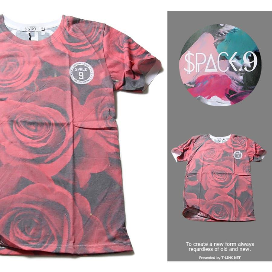 狙うはイケメンコーデ SPACE9 デザインTシャツ ROSE 花柄 バラ Tシャツ メンズ デザインTシャツ クラブファッション ストリート系アニマルプリント 動物プリント spt029 05P09Jul16 連立