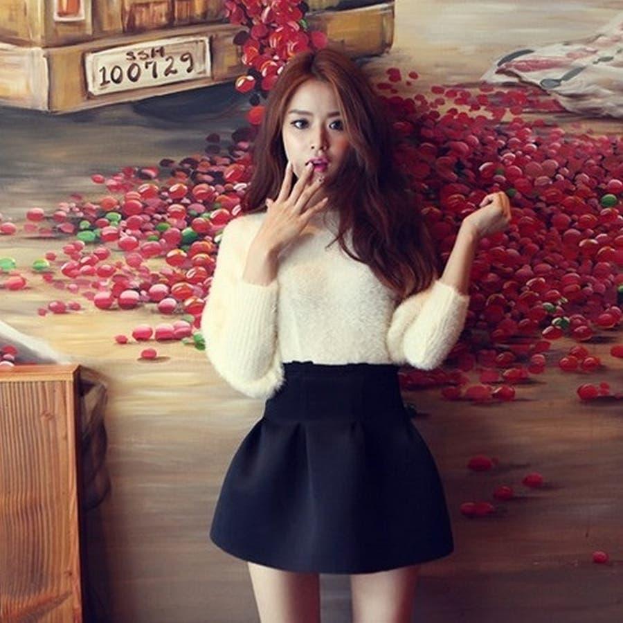 買ってすぐ使える Girly Doll   ボトムス レディな雰囲気に仕上げてくれるミニスカート p-x328-8292-61 シンプル フレアー ミニスカート ブラック フレアースカート フレアスカート  フェミニン ハイウエスト フレア スカート 漠漠