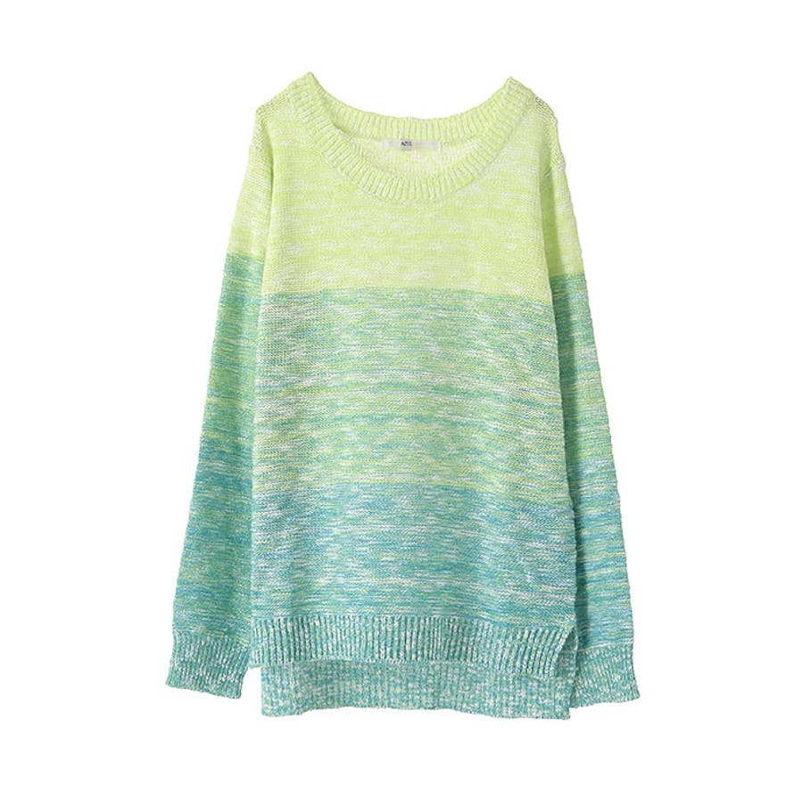 AZUL by moussy FINE綿タッチAC12GグラデボーダーPO AZUL by moussy   アズールバイマウジー MARKDOWN  トップス 春 決定