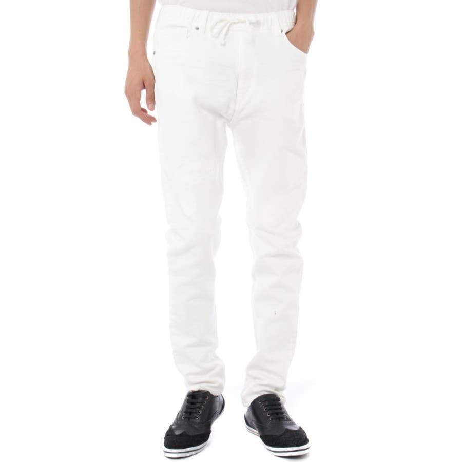 個性が表れる優れものアイテム メンズファッション通販 AZUL by moussy ドビーホワイトリメイクデニム AZUL by moussy アズール バイマウジー メンズ BOTTOMS Denim Pants 正当