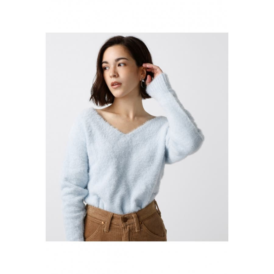 【AZUL BY MOUSSY】フェザーヤーンV長袖プルオーバー AZUL BY MOUSSY/アズール バイ マウジー/レディース/長袖 1