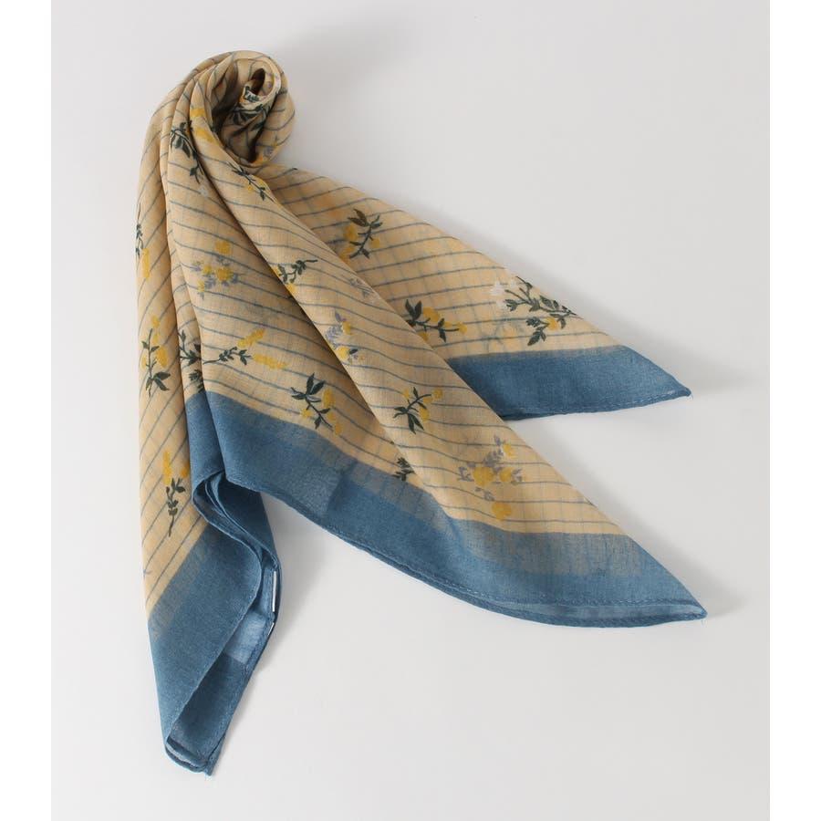 ストライプ小花柄スカーフ 76