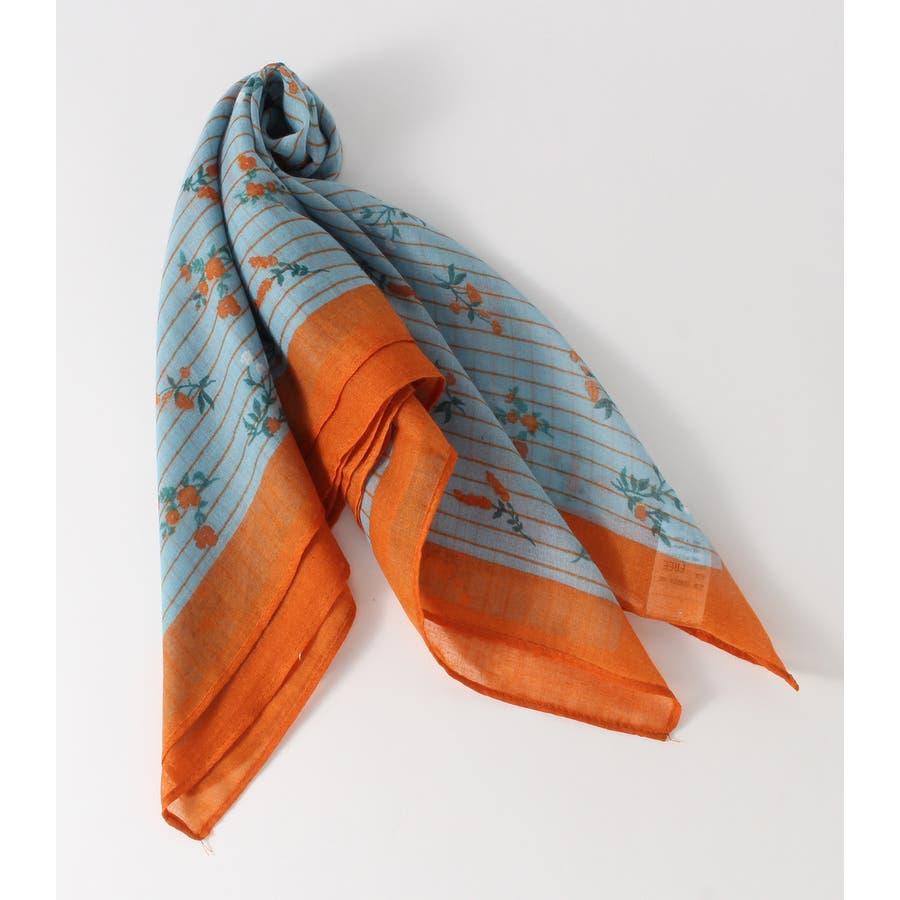 ストライプ小花柄スカーフ 1