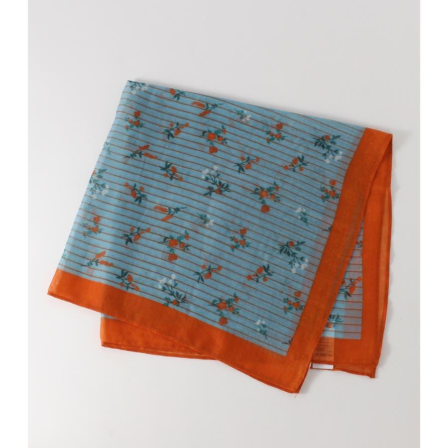 ストライプ小花柄スカーフ 2