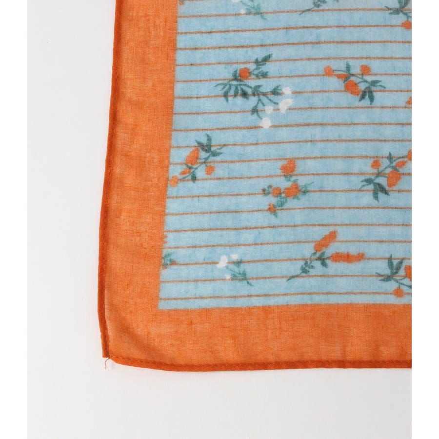ストライプ小花柄スカーフ 3