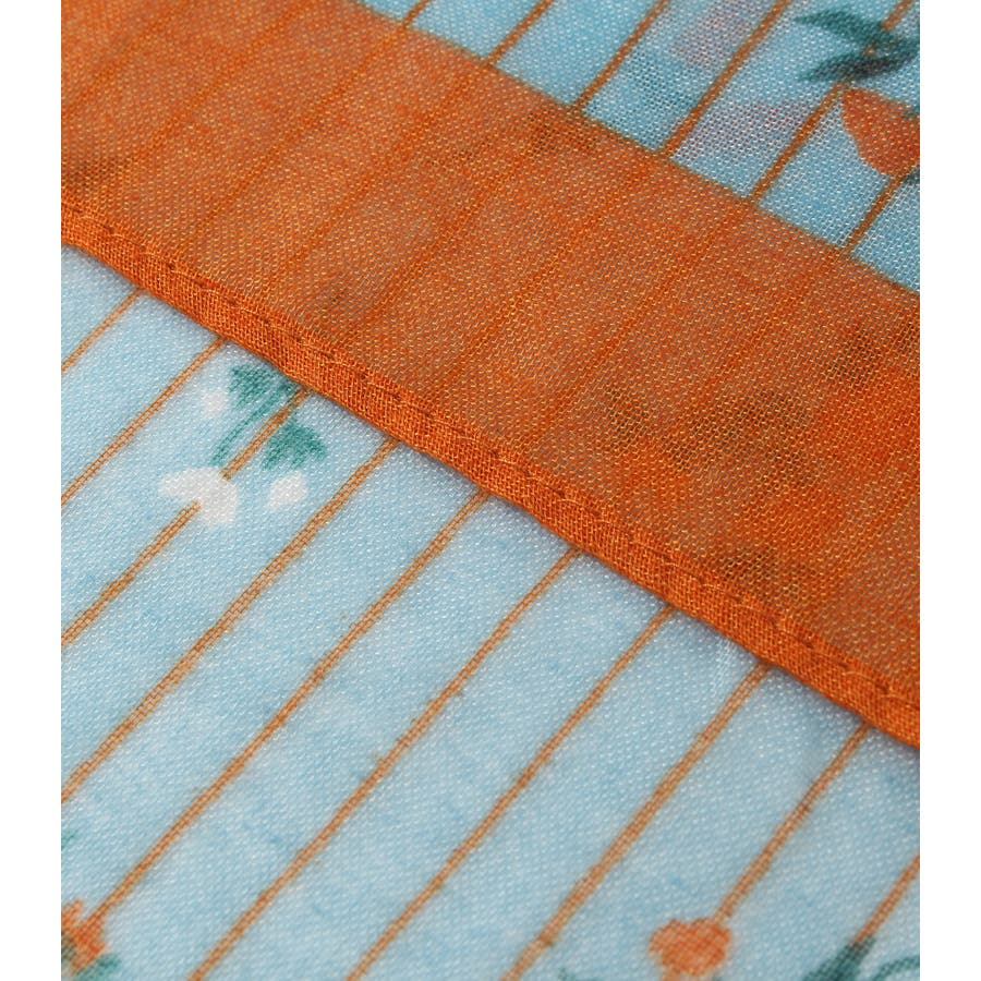 ストライプ小花柄スカーフ 4