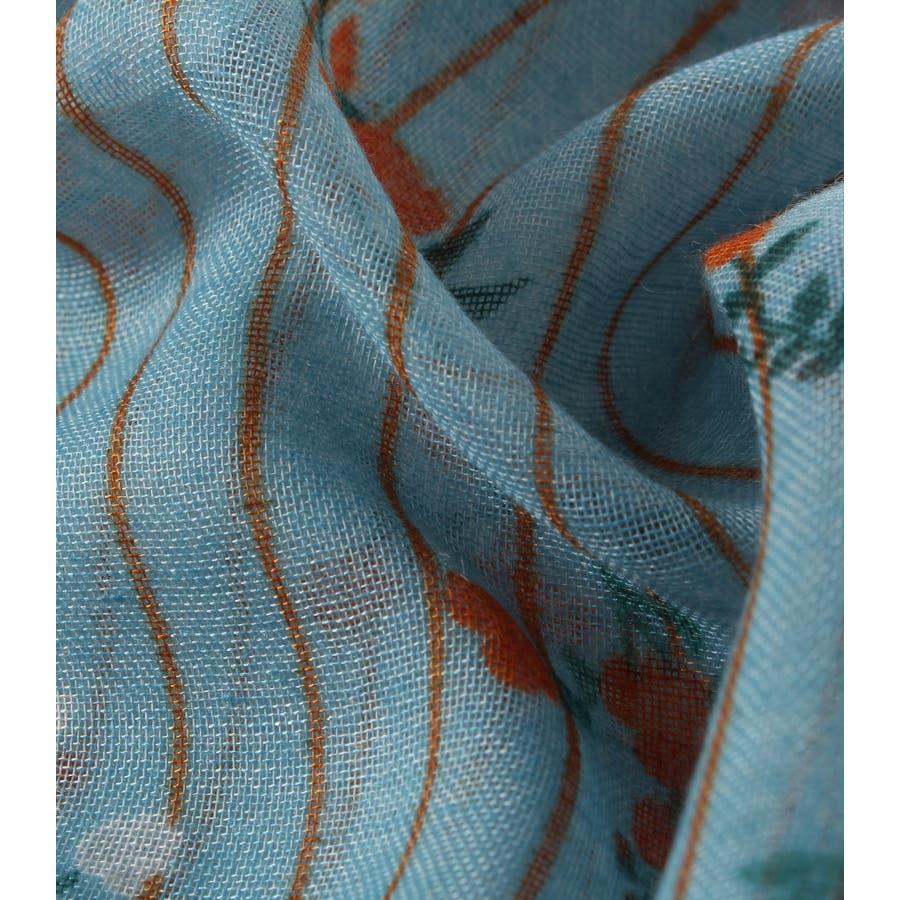 ストライプ小花柄スカーフ 5