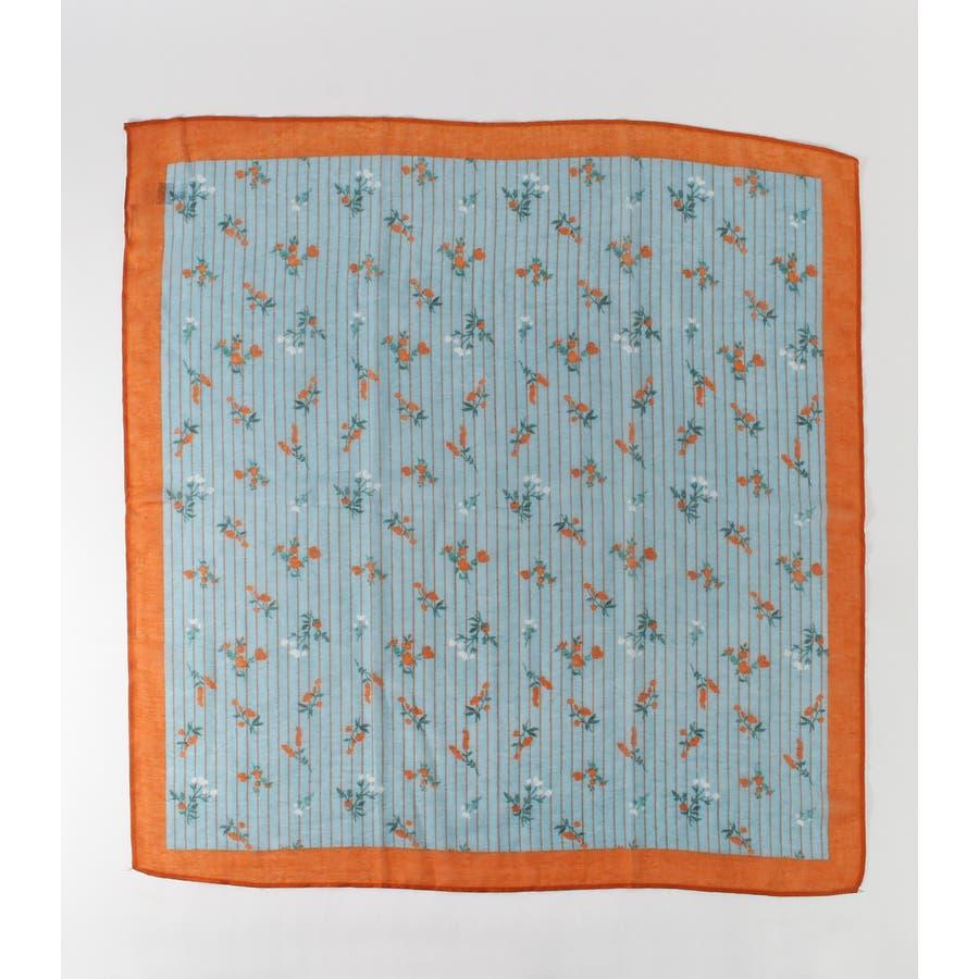 ストライプ小花柄スカーフ 8