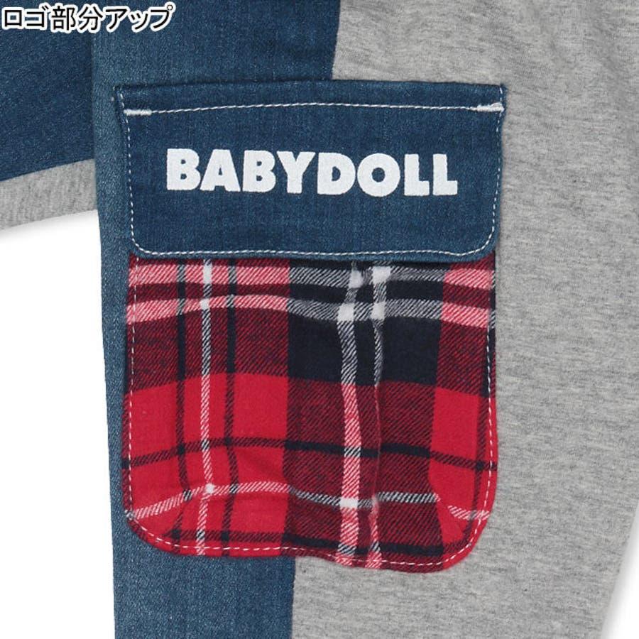 チェック ワッペンデニム ロングパンツ 4239K ベビードール BABYDOLL 子供服 ベビー キッズ 男の子 女の子 6
