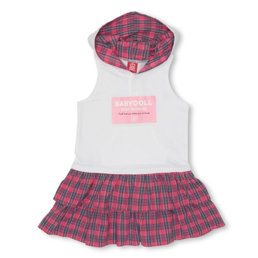 チェックフリル ワンピース 4425K ベビードール BABYDOLL 子供服 ベビー キッズ 男の子 女の子 108
