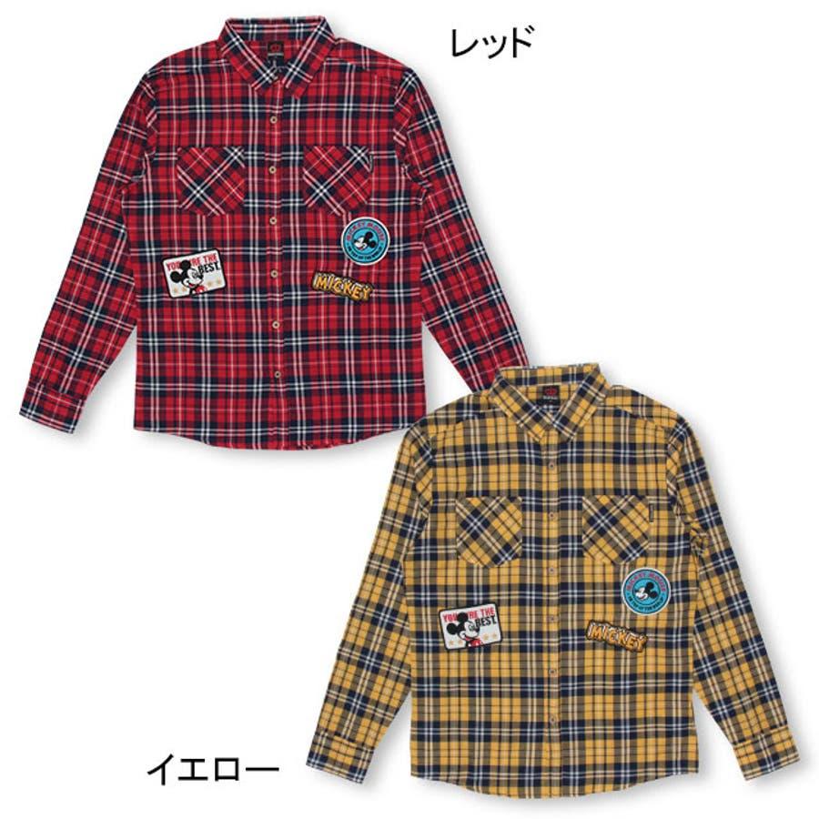 ディズニー ワッペン チェックシャツ 4585A ベビードール BABYDOLL 子供服 大人 レディースDISNEY★Collection 3