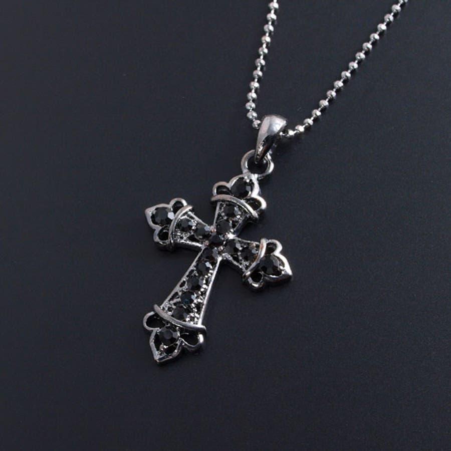 クロスネックレス レディース アクセサリー クール ロザリオ クロス ネックレス シック 女性 婦人 ブラック メタル 十字架彼女 ペア