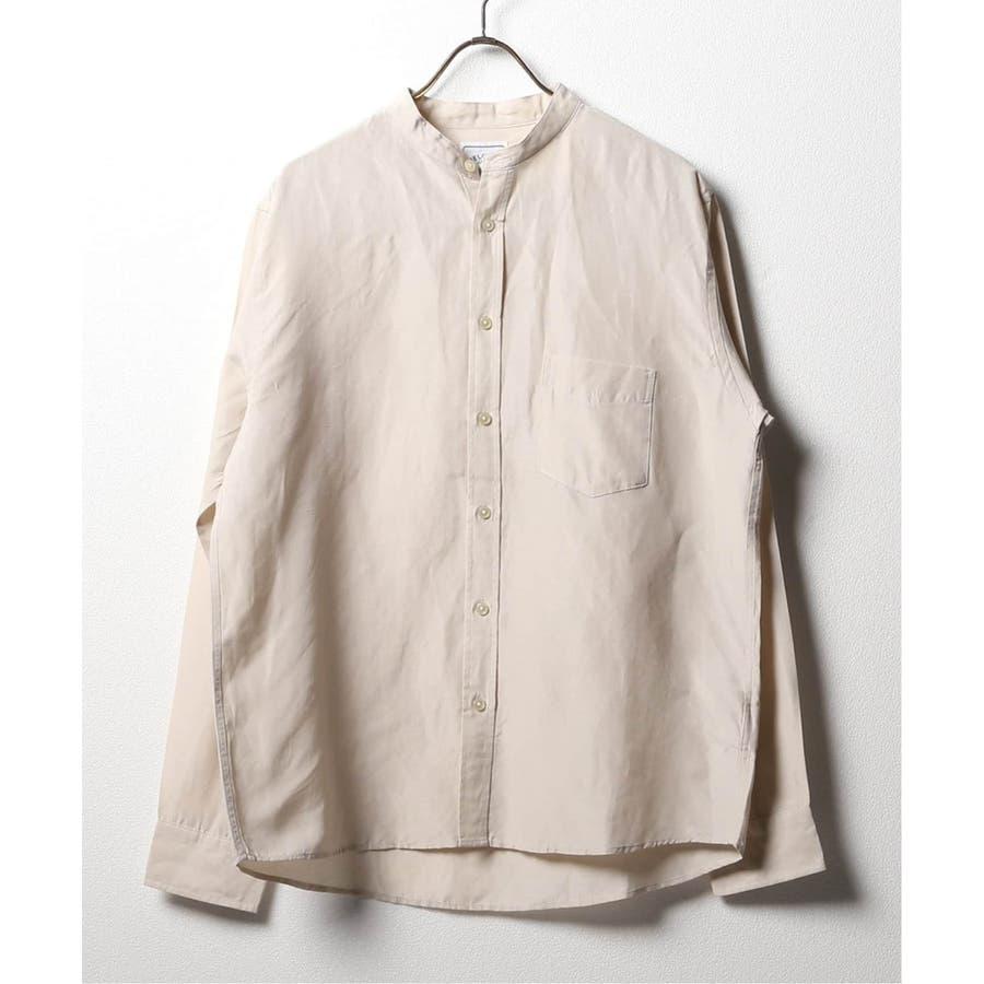 B.C STOCK ベーセーストック BELGIAN LINEN BLEND バンドカラーシャツ 1