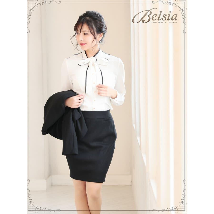 卒園式 卒業式 入園式 入学式 キャバシャツ レディース トップス シャツ Belsia ボウタイ ブラウス シフォン スーツインナー小さいサイズ 5