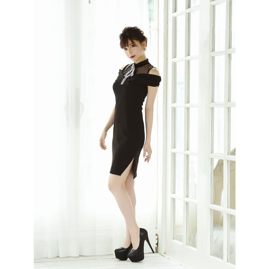 キャバ ドレス キャバドレス キャバクラ キャバワンピース パーティードレス Belsia ワンカラー リボン ブローチ タイト SM L XL ブラック 黒 2